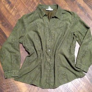 5/$15 Faux Suede Button Down Shirt
